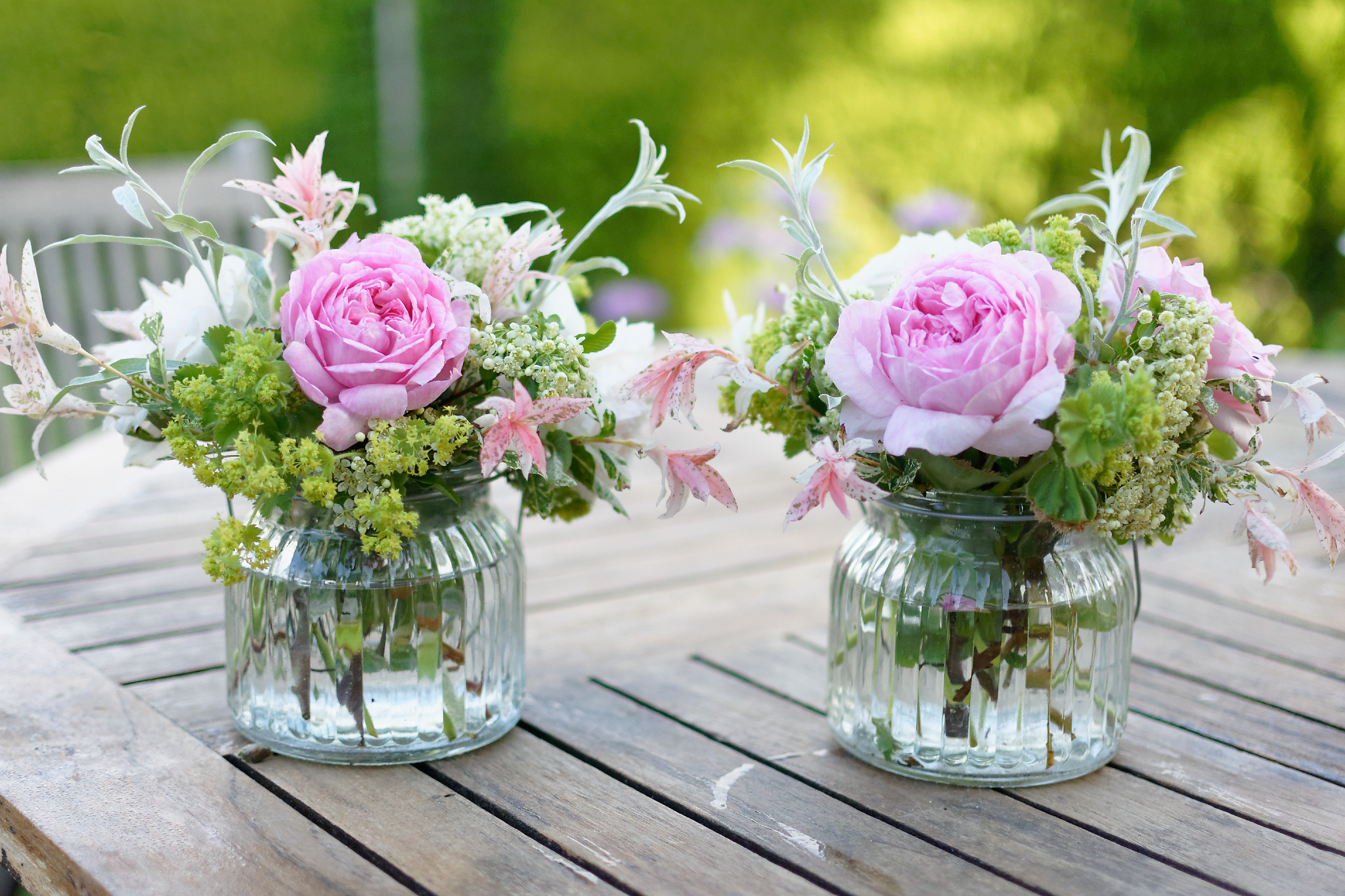 Pretty garden flowers for the tents